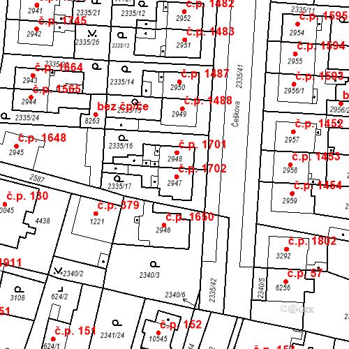 Katastrální mapa Stavební objekt Zelené Předměstí 1702, Pardubice