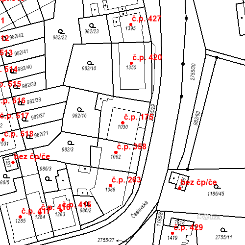 Katastrální mapa Stavební objekt Chrudim IV 175, Chrudim