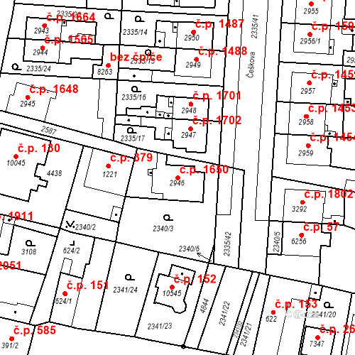 Katastrální mapa Stavební objekt Zelené Předměstí 1650, Pardubice
