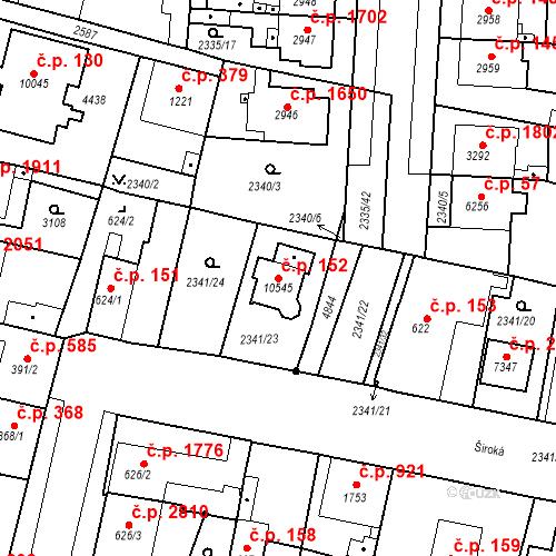Katastrální mapa Stavební objekt Zelené Předměstí 152, Pardubice