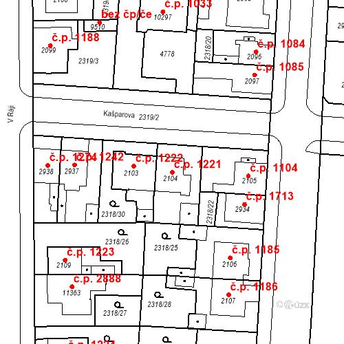 Katastrální mapa Stavební objekt Zelené Předměstí 1221, Pardubice