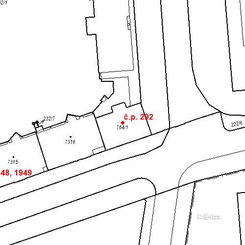 Katastrální mapa Stavební objekt Zelené Předměstí 292, Pardubice