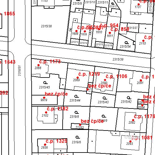 Katastrální mapa Stavební objekt Zelené Předměstí 1219, Pardubice