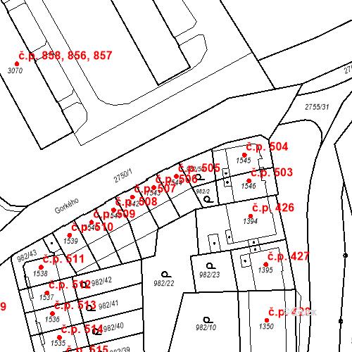 Katastrální mapa Stavební objekt Chrudim IV 505, Chrudim