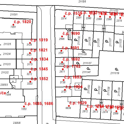 Katastrální mapa Stavební objekt Zelené Předměstí 1692, Pardubice