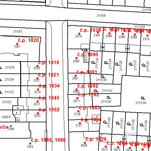 Katastrální mapa Stavební objekt Zelené Předměstí 1691, Pardubice