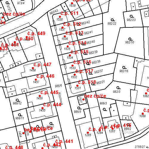 Katastrální mapa Stavební objekt Chrudim IV 517, Chrudim