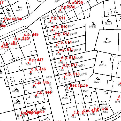 Katastrální mapa Stavební objekt Chrudim IV 516, Chrudim