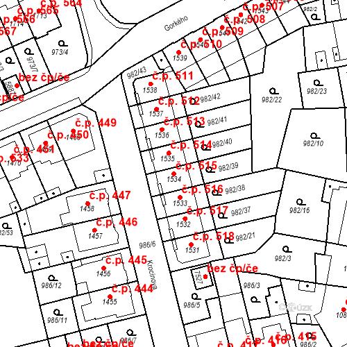 Katastrální mapa Stavební objekt Chrudim IV 515, Chrudim