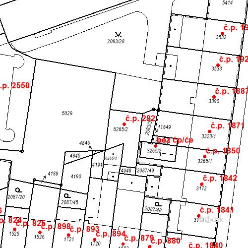 Katastrální mapa Stavební objekt Zelené Předměstí 282, Pardubice