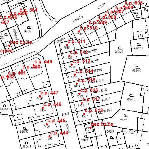 Katastrální mapa Stavební objekt Chrudim IV 514, Chrudim