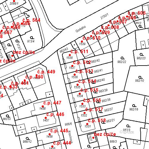 Katastrální mapa Stavební objekt Chrudim IV 513, Chrudim