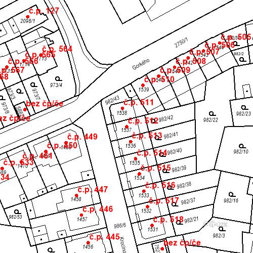 Katastrální mapa Stavební objekt Chrudim IV 512, Chrudim