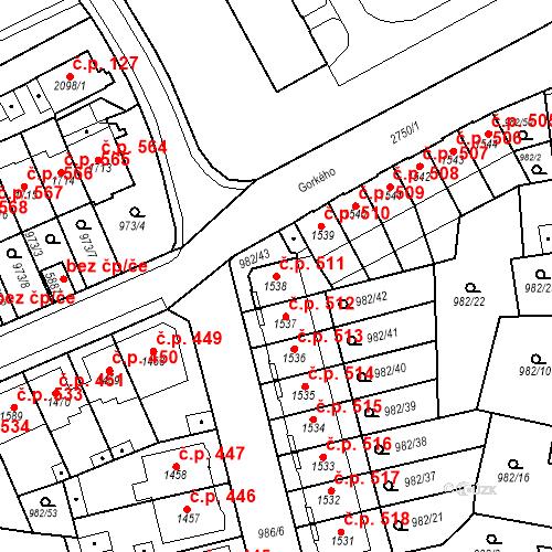 Katastrální mapa Stavební objekt Chrudim IV 511, Chrudim