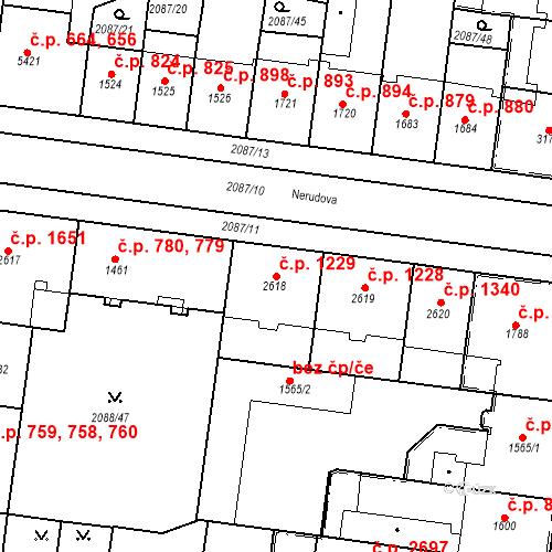 Katastrální mapa Stavební objekt Zelené Předměstí 1229, Pardubice
