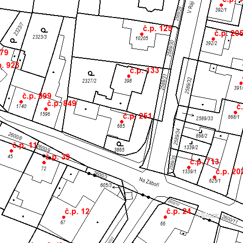 Katastrální mapa Stavební objekt Zelené Předměstí 251, Pardubice
