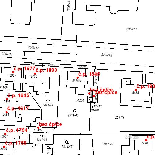 Katastrální mapa Stavební objekt Zelené Předměstí 1545, Pardubice