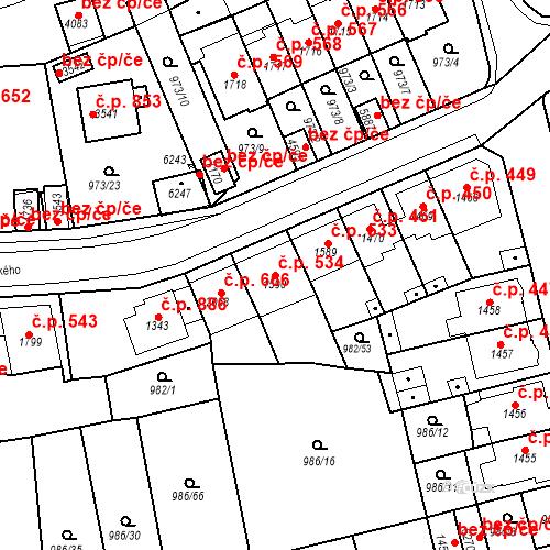 Katastrální mapa Stavební objekt Chrudim IV 534, Chrudim
