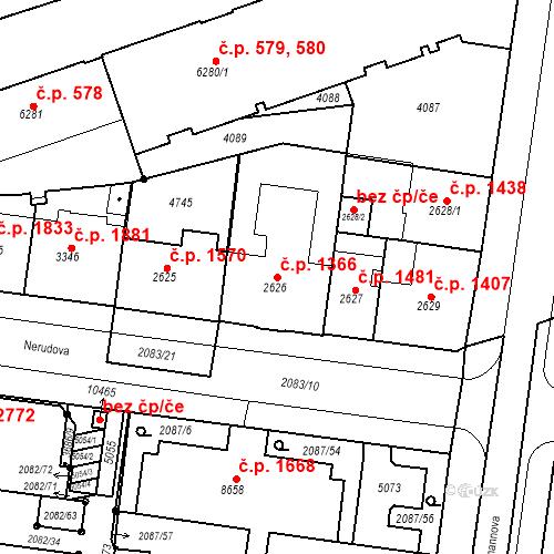 Katastrální mapa Stavební objekt Zelené Předměstí 1366, Pardubice