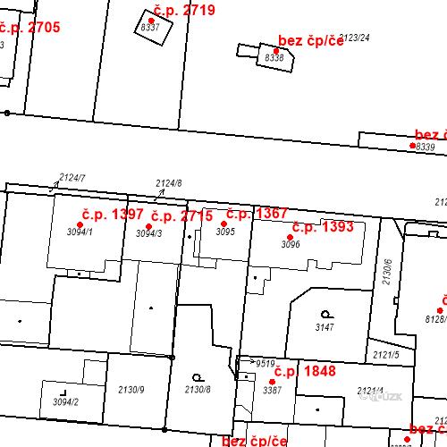 Katastrální mapa Stavební objekt Zelené Předměstí 1367, Pardubice