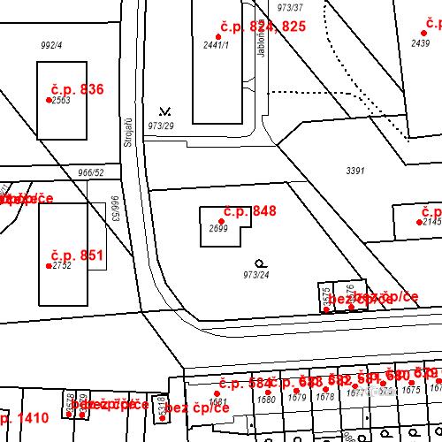 Katastrální mapa Stavební objekt Chrudim IV 848, Chrudim