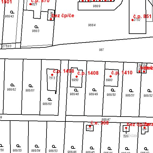 Katastrální mapa Stavební objekt Chrudim IV 1408, Chrudim