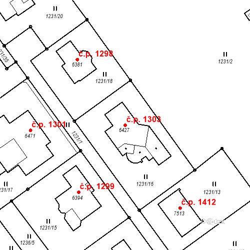 Katastrální mapa Stavební objekt Chrudim IV 1303, Chrudim