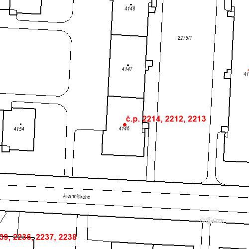 Katastrální mapa Stavební objekt Zelené Předměstí 2212, 2213, 2214, Pardubice