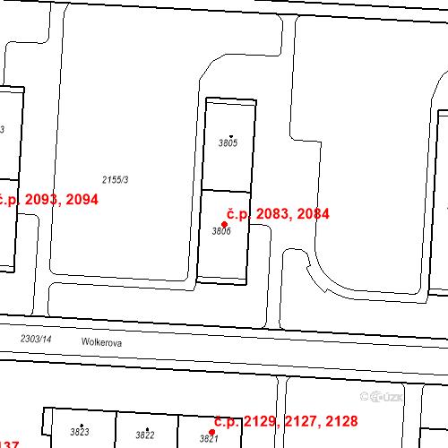 Katastrální mapa Stavební objekt Zelené Předměstí 2083, 2084, Pardubice