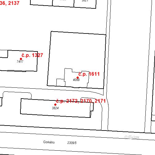 Katastrální mapa Stavební objekt Zelené Předměstí 1611, Pardubice