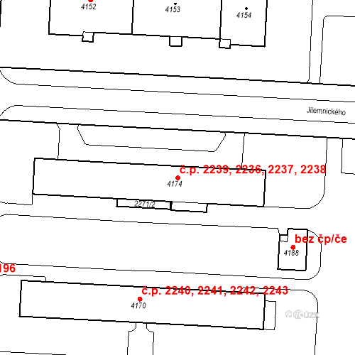 Katastrální mapa Stavební objekt Zelené Předměstí 2236, 2237, 2238, 2239, Pardubice