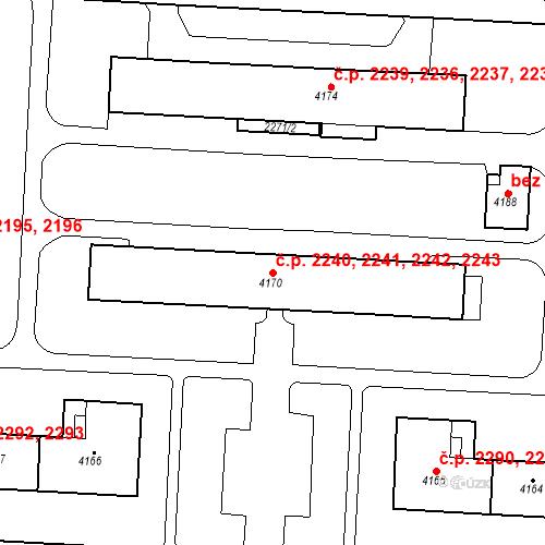 Katastrální mapa Stavební objekt Zelené Předměstí 2240, 2241, 2242, 2243, Pardubice