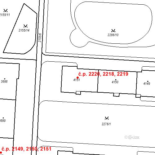 Katastrální mapa Stavební objekt Zelené Předměstí 2218, 2219, 2220, Pardubice