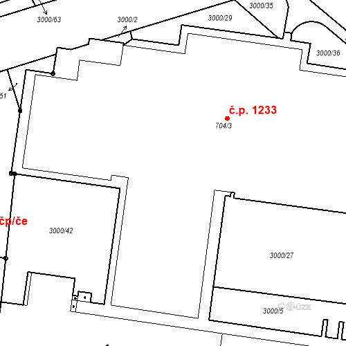 Katastrální mapa Stavební objekt Zelené Předměstí 1233, Pardubice
