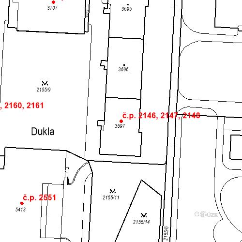 Katastrální mapa Stavební objekt Zelené Předměstí 2146, 2147, 2148, Pardubice