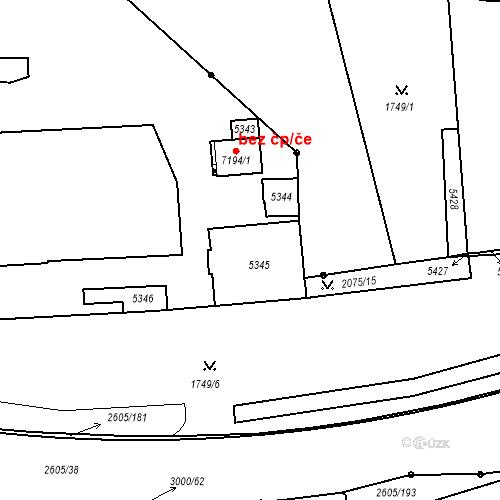 Katastrální mapa Stavební objekt Zelené Předměstí 248, Pardubice