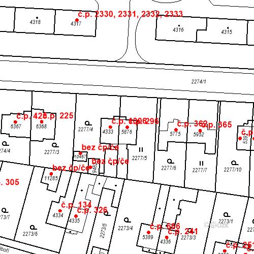 Katastrální mapa Stavební objekt Zelené Předměstí 296, Pardubice