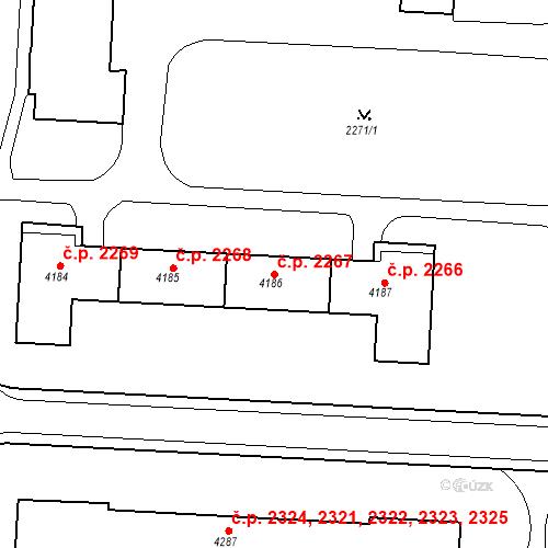 Katastrální mapa Stavební objekt Zelené Předměstí 2267, Pardubice