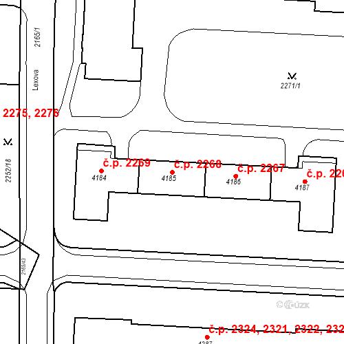 Katastrální mapa Stavební objekt Zelené Předměstí 2268, Pardubice