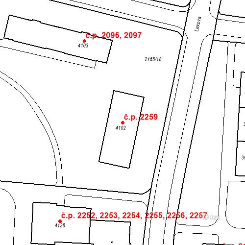Katastrální mapa Stavební objekt Zelené Předměstí 2259, Pardubice