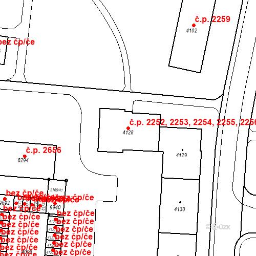 Katastrální mapa Stavební objekt Zelené Předměstí 2252, 2253, 2254, 2255, 2256, Pardubice