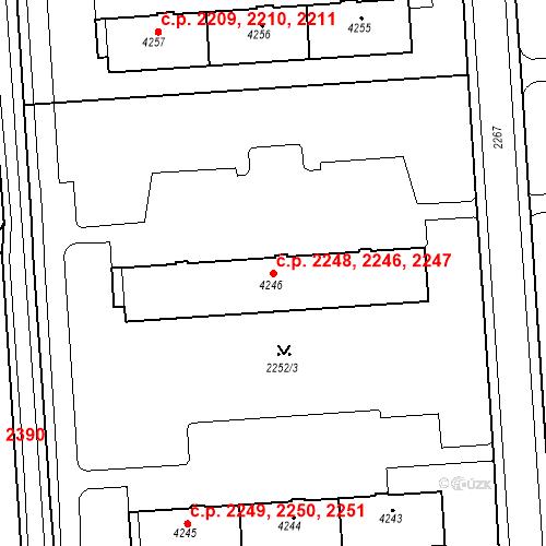Katastrální mapa Stavební objekt Zelené Předměstí 2246, 2247, 2248, Pardubice