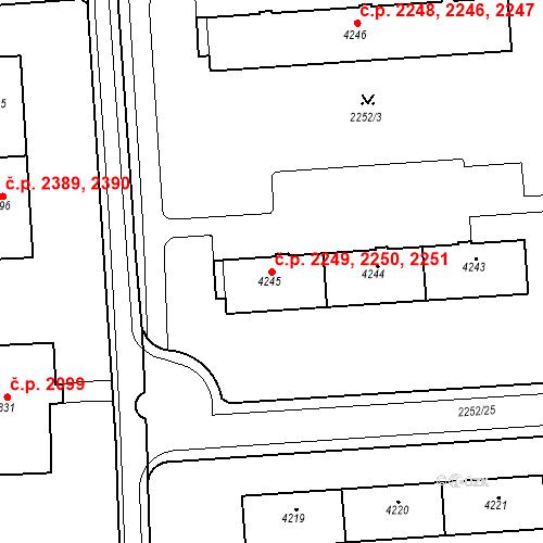 Katastrální mapa Stavební objekt Zelené Předměstí 2249, 2250, 2251, Pardubice