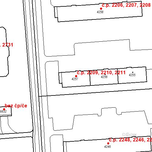 Katastrální mapa Stavební objekt Zelené Předměstí 2209, 2210, 2211, Pardubice