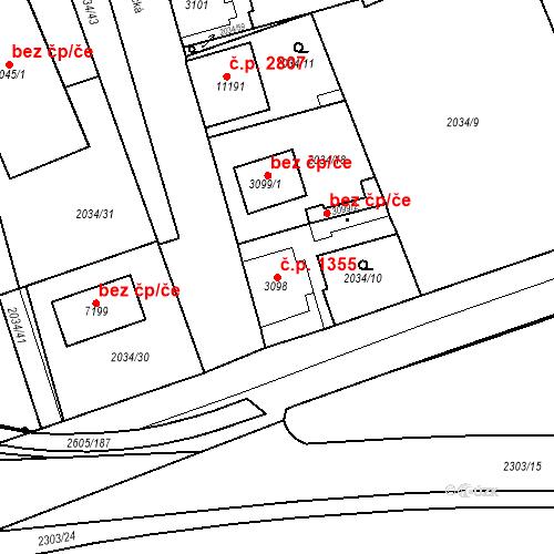 Katastrální mapa Stavební objekt Zelené Předměstí 1355, Pardubice