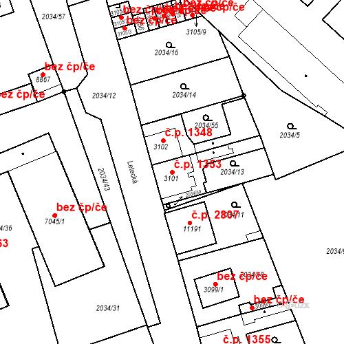 Katastrální mapa Stavební objekt Zelené Předměstí 1353, Pardubice