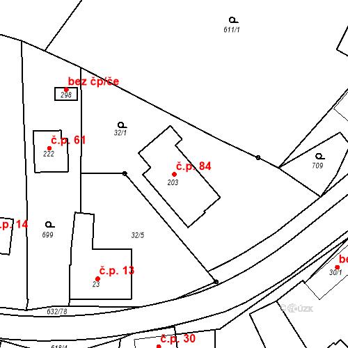 Katastrální mapa Stavební objekt Dolní Přím 84, Dolní Přím