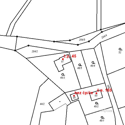 Katastrální mapa Stavební objekt Hodonín 45, Hodonín