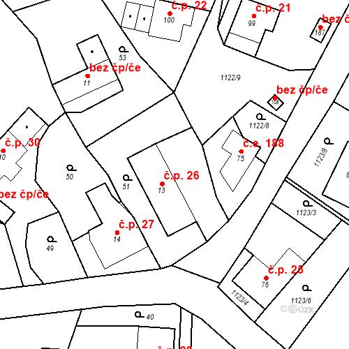 Katastrální mapa Stavební objekt České Lhotice 26, České Lhotice