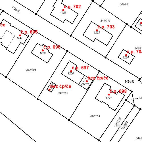 Katastrální mapa Stavební objekt Ždírec nad Doubravou 697, Ždírec nad Doubravou